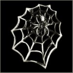 Large Spider in Web Biker Pin