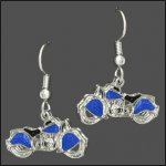 Blue Inlay Motorcycle Earrings
