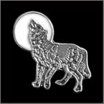 White Moon Howling Wolf Pin